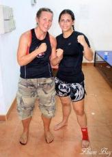 Sky (left) with WBC champ Geraldine O'Callaghan